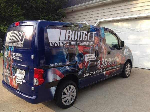 Service Van of Budget Heating and Cooling in Westlake Ohio